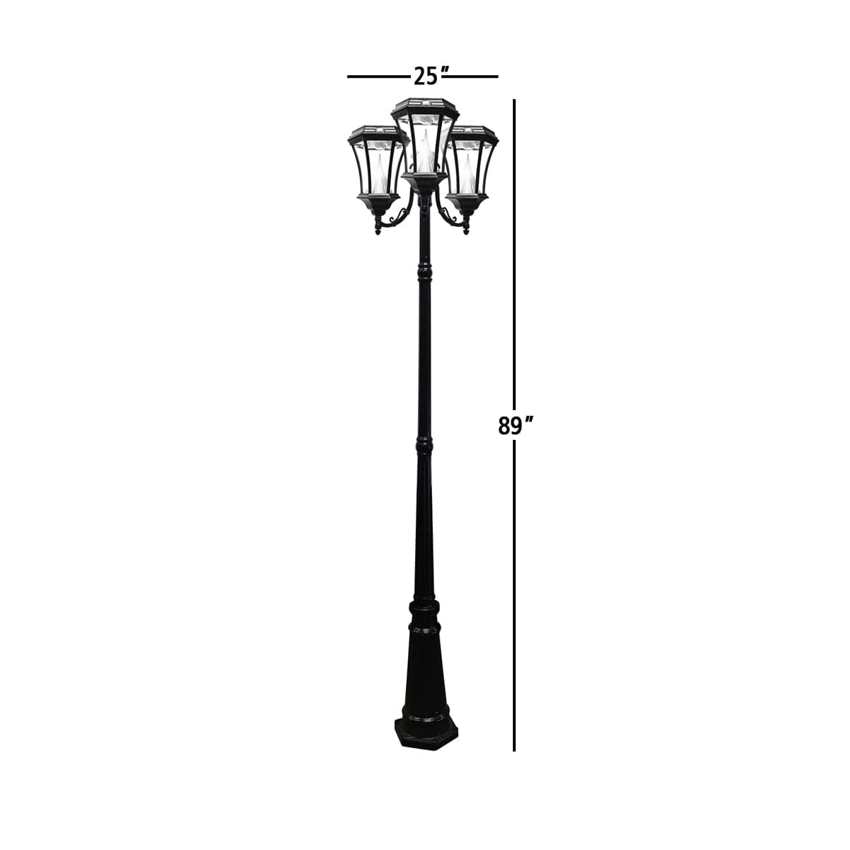 Victorian Solar Lamp Post by Gama Sonic GS-94T 3 Head Lamp Post Measurements