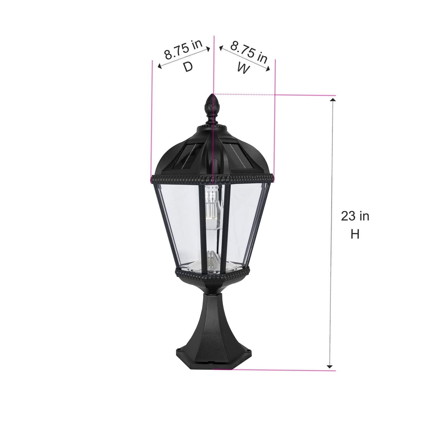 Royal Bulb Pier Mount Solar Lamp - Dimensions