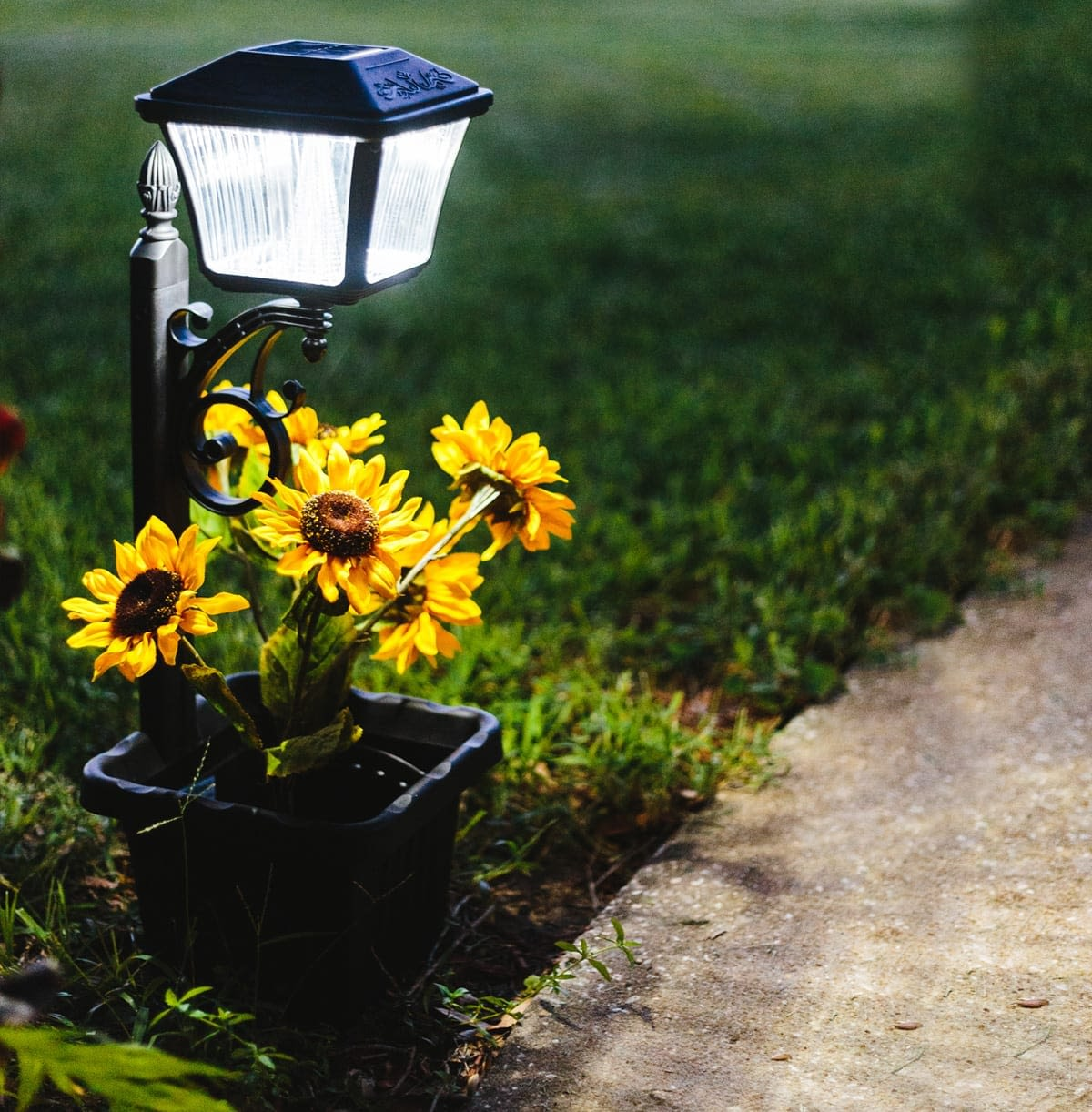 Gama Sonic Solar Path Light with Planter | Solar Planter Light