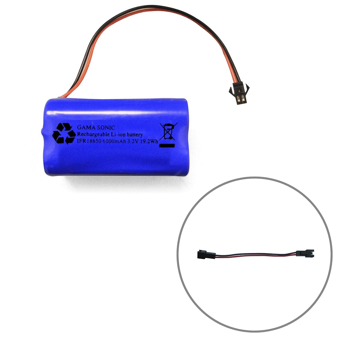 Gama Sonic Battery-Li-ion_3.2V_6000mAh with Connector