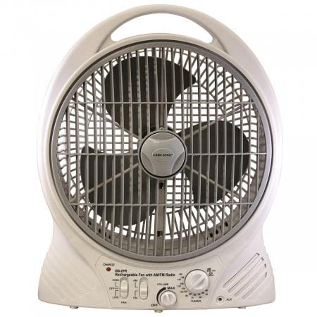 Gama Sonic Rechargeable Cooling Fan with AM/FM Radio and MP3 Input GS-27R