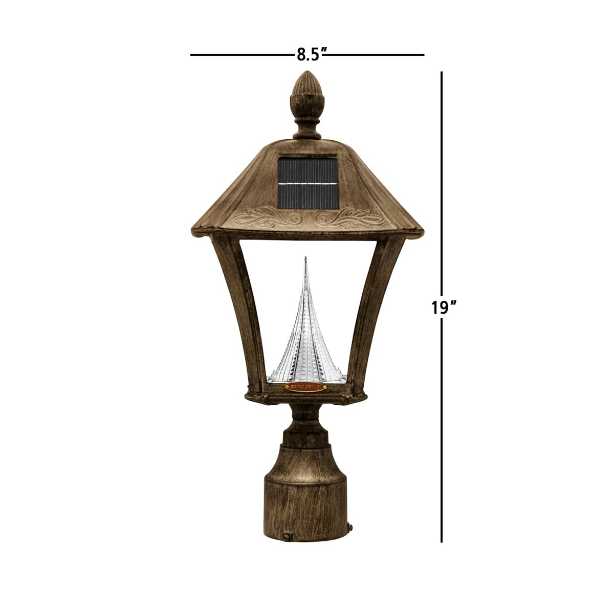 Baytown Solar Lamp Series by Gama Sonic GS-106F-WB Measurements