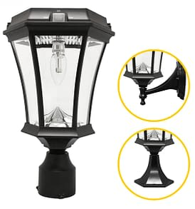 Victorian Bulb Solar Lamp Post with GS Solar LED bulb by Gama Sonic GS-94B-FPW_Mounting_options