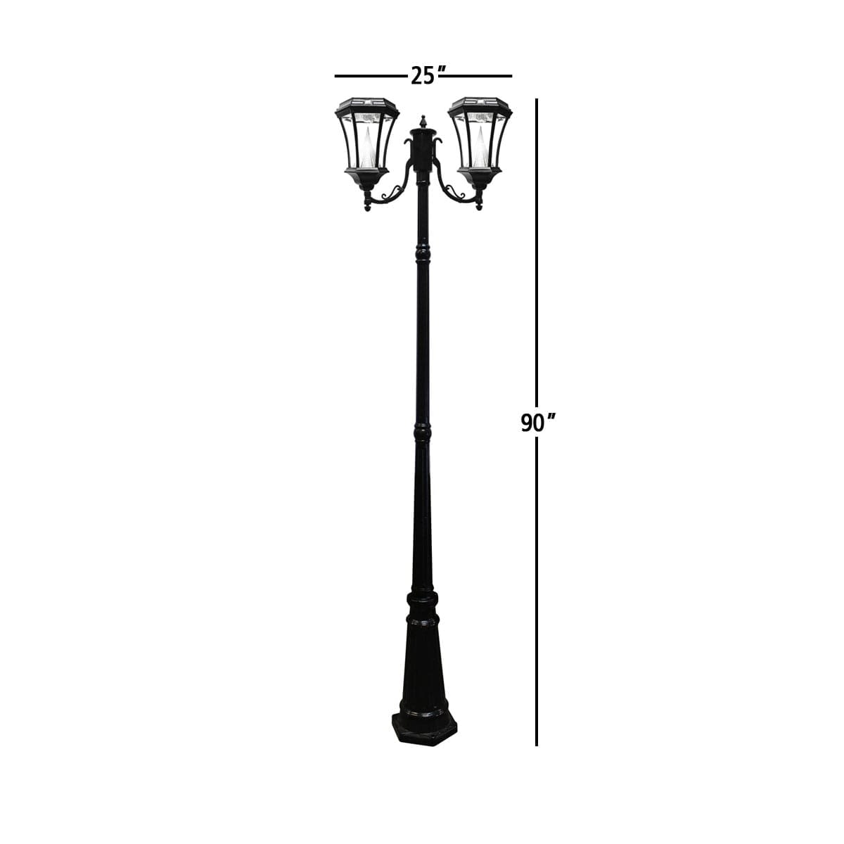 Victorian-Solar-Lamp-Post-by-Gama-Sonic-GS-94D-Double-Lamp-Post-Measurements