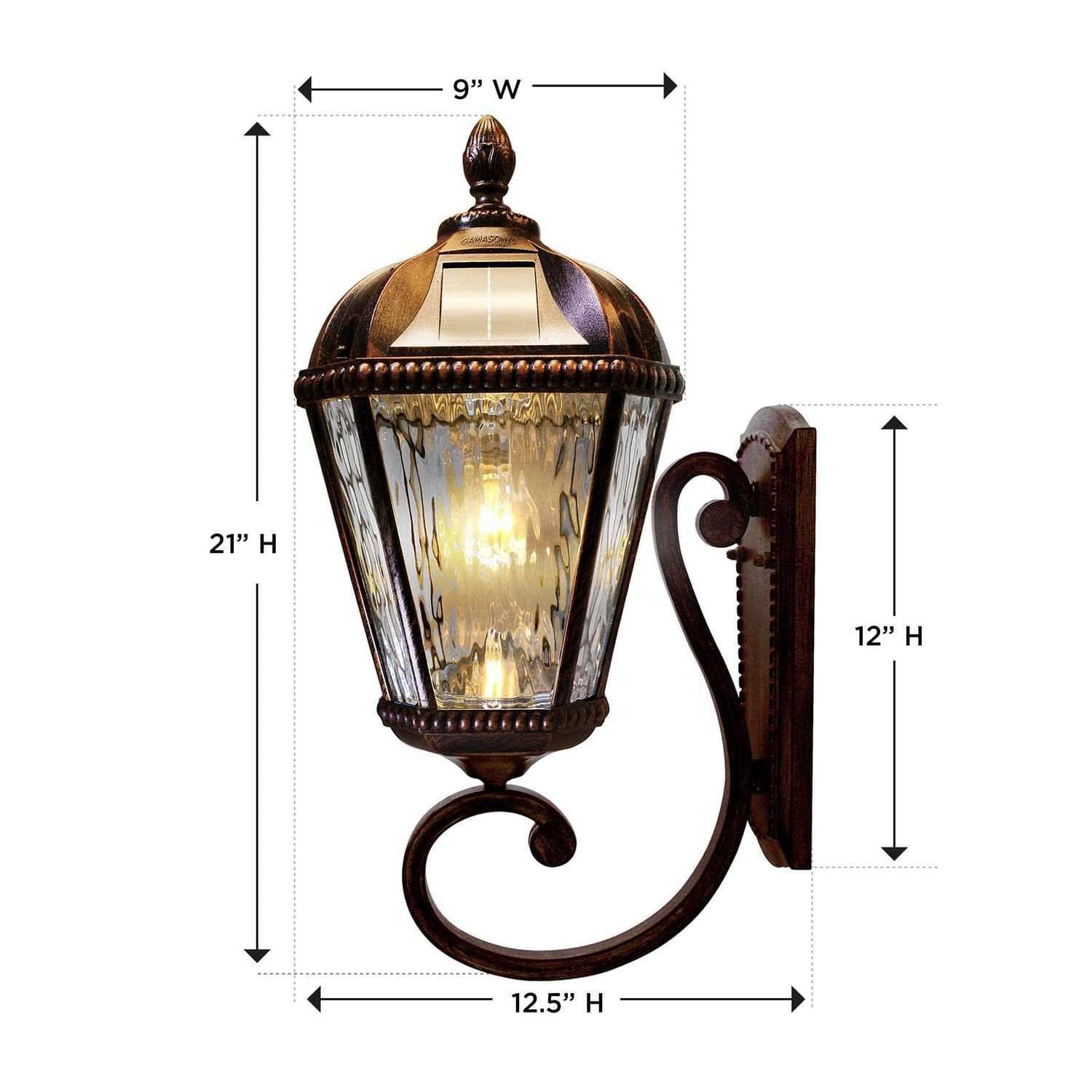 Royal Bulb Wall Mount Solar Lamp Dimensions