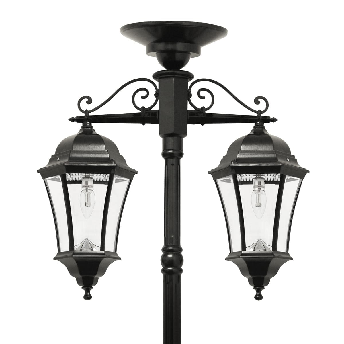 Double Downward Hanging Solar Lamp Post