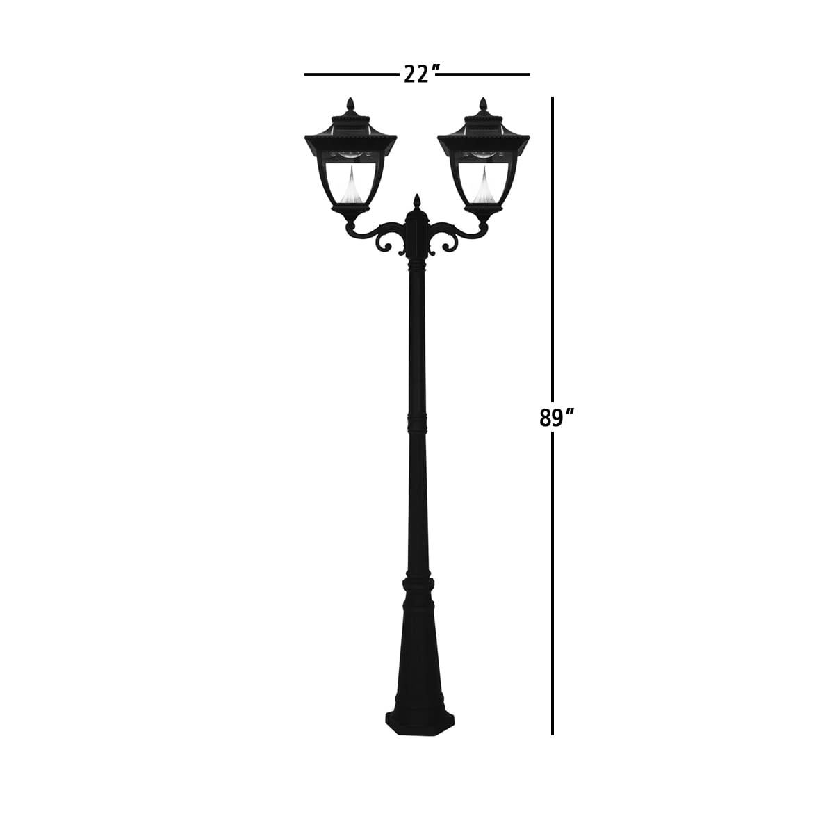 Pagoda Solar Lamp Post by Gama Sonic GS-104D Measurements