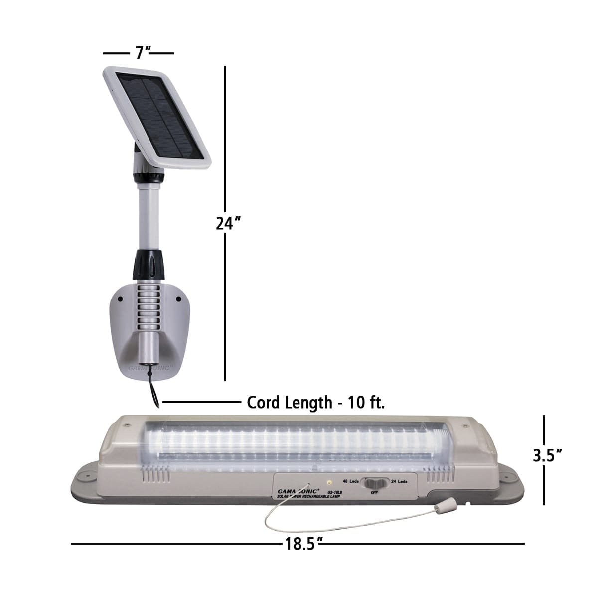 Solar Powered Shed Light-Light My Shed III-GS-16LD By Gama Sonic_measurements