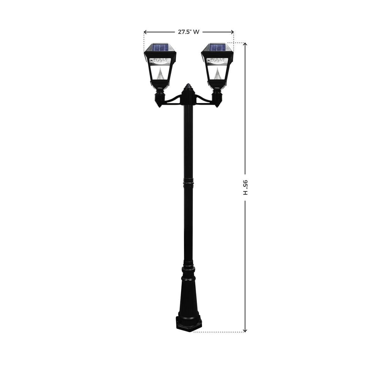 Gama Sonic Imperial II Series – Double Solar Lamp and Lamp Post GS-97ND_Measurements