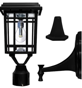 Gama Sonic Prairie Bulb Solar Lamp with GS Solar LED Light Bulb GS-114B-FPW-BLK