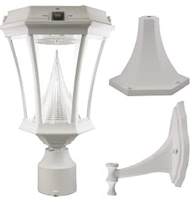 Victorian Solar Lamp Post by Gama Sonic GS-94FPW White