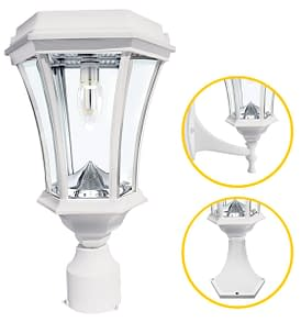 Gama Sonic Victorian Bulb Solar Lamp with GS Solar LED Light Bulb GS-94B-FPW White