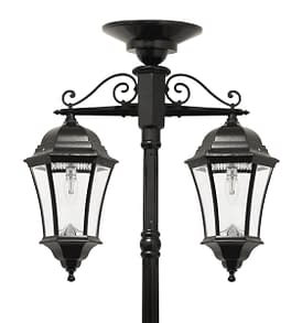 Victorian Bulb Double Downward Hanging Solar Lamp Post By Gama Sonic GS-94B-CD